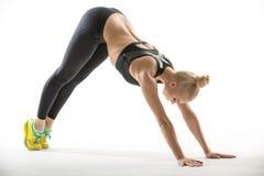 Sportive девушка в студии стоковые фотографии rf