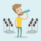 Sportive иллюстрация вектора питьевой воды человека Стоковые Изображения RF