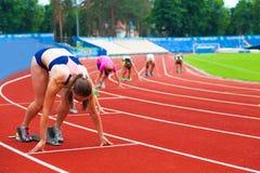 Sportive all'inizio Immagine Stock Libera da Diritti