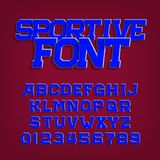 Sportive alphabet vector font. Retro style typeface for labels, titles, posters or sportswear. Stock Photography