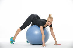 Free Sportive Blonde Lies On Fitball Stock Image - 71665371