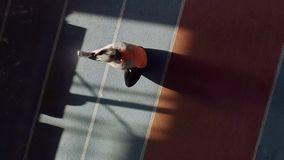 Sportive blonde woman training at indoor stadium. Elastic girl in an orange T-shirt with black pants and light sneakers is doing a stretching exercises at the stock video footage