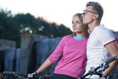 Sportive Caucasian Couple With MTB Bicycles Dating Outdoors. Tog Stock Photo