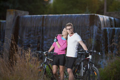 Sportive Caucasian Couple With MTB Bicycles Dating Outdoors Stock Photography