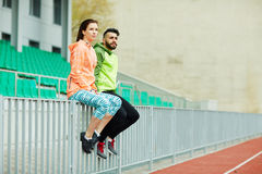 Sportive Couple in Stadium Royalty Free Stock Images