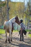 Sportive de fille et son cheval de nouveau aux écuries après la monte Photo stock