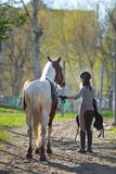 Sportive de fille et son cheval de nouveau aux écuries après la monte Image stock