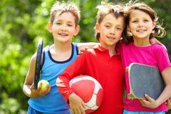 Sportive friends royalty free stock photo