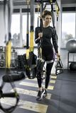 Sportive girl in gym Royalty Free Stock Images