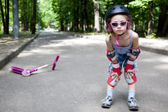 Sportive girl in summer park Royalty Free Stock Photography