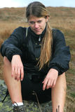 Sportive girl on the trek. With mountain background Royalty Free Stock Photography