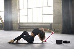 Sportive girl yoga training Royalty Free Stock Photos