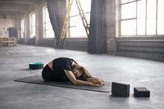Sportive girl yoga training Stock Images