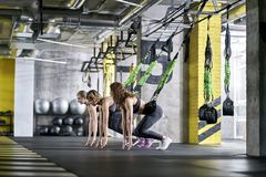 Sportive girls training in gym Royalty Free Stock Images