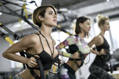 Sportive girls training in gym Stock Images