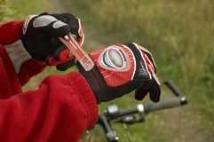 Sportive gloves on hands Royalty Free Stock Photos