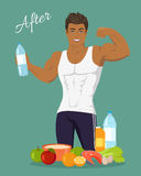 Sportive Man After Diet. Healthy Balanced Nutrition Royalty Free Stock Image
