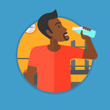 Sportive man drinking water vector illustration. African-american man drinking water. Young sportive man with bottle of water in the gym. Sportsman drinking Royalty Free Stock Images