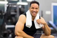 Sportive man gym. Portrait of handsome sportive man in gym Stock Image