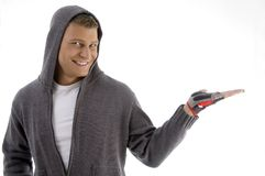 Sportive man with open palm Royalty Free Stock Images