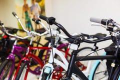 Sportive mountain bike row in the store Stock Photo