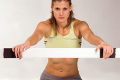 Sportive one. Cute caucasian athletic model with barrier Royalty Free Stock Images