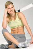 Sportive one. Cute caucasian athletic model with barrier, common sport equipment Royalty Free Stock Photo