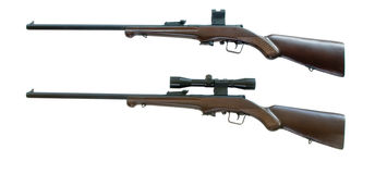 Sportive riffles. Contemporary  5,6 riffle models for the hunting Royalty Free Stock Photos