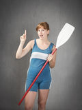 Sportive rower indicated. People emotions and expressions portrait royalty free stock image