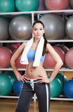 Sportive sexy woman in fitness gym Royalty Free Stock Image