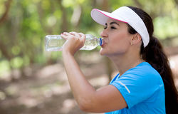 Sportive woman drinking water Royalty Free Stock Image