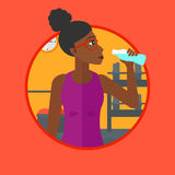 Sportive woman drinking water vector illustration. Royalty Free Stock Images