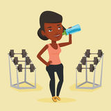 Sportive woman drinking water vector illustration. Royalty Free Stock Photo