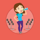 Sportive woman drinking water vector illustration. Royalty Free Stock Image