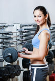 Sportive woman with dumbbells Royalty Free Stock Images