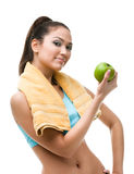 Sportive woman hands green apple Stock Photography