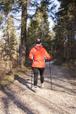 Sportive woman Nordic walking cross country Royalty Free Stock Photo