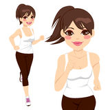 Sportive Woman Running. Beautiful happy sportive woman running on two different poses Royalty Free Stock Photo