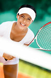 Sportive woman in sportswear playing tennis Royalty Free Stock Photography