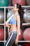 Sportive woman in tracksuit in fitness gym Royalty Free Stock Photography