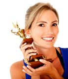 Sportive woman with trophy Royalty Free Stock Photography