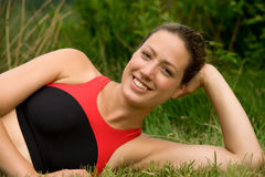 Sportive young adult resting Stock Images