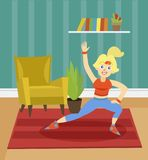 Sportive young woman exercising on the background of living room apartment colorful vector illustration. In cartoon style Stock Photo