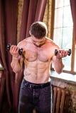 Sportiver sexy Mann, stehend im Wohnzimmer und halten Dummköpfe lizenzfreie stockfotografie