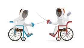 Sportivi disabili con le rapière che recintano le sedie a rotelle Fotografie Stock Libere da Diritti