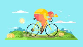Sportivo del ciclista sulla bici illustrazione vettoriale
