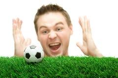 Sportivo o ventilatore di calcio che grida sulla sfera Fotografie Stock Libere da Diritti