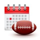 Sportkalender och realistisk fotboll för fotboll Händelse för konkurrens för månaddatumschema Rugbykalendersymbol royaltyfri illustrationer