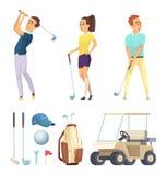 Sportkarakters en diverse hulpmiddelen voor golfspelers Vectorbeeldverhaalmascottes stock illustratie