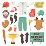 Sportkleding en beslagen van honkbal de de vectorvangers baseballbat of bal voor de concurrentie op de reeks van de gebiedsillust stock illustratie